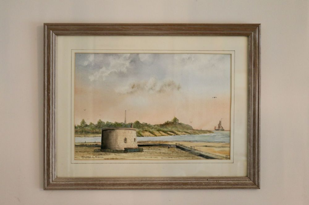 Bawdsey Cliffs; Framed Original Watercolour signed by Edward Bingy